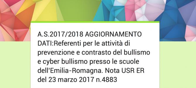 Referenti per le attività di prevenzione e contrasto del bullismo e cyber bullismo presso le scuole dell'Emilia-Romagna